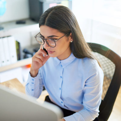 woman studying mortgage rates